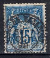 """1892 - OBLITERATION CAD """" GARE DE BESANÇON DOUBS """" Sur TIMBRE TYPE SAGE 15c BLEU N° 101 - 1898-1900 Sage (Type III)"""
