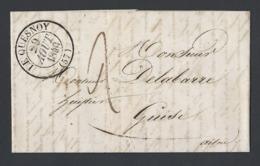 LAC TAD Type 13 Le Quesnay Du 29 Août 1840 Vers Guise (Aisne) Verso Valencienne St Quentin Et Arrivée A Guise - Marcophilie (Lettres)