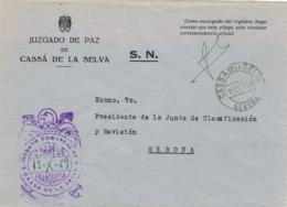 34340. Carta S.N. Franquicia Juzgado Comarcal CASSÁ De La SELVA (Gerona) 1959. Fechador Cassá - 1931-Hoy: 2ª República - ... Juan Carlos I