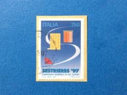 1997 ITALIA FRANCOBOLLO USATO STAMP USED SESTRIERES SCI ALPINO 750 - 6. 1946-.. Repubblica