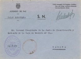 34342. Carta S.N. Franquicia Juzgado De Paz PALAU SABARDERA (Gerona) 1959. Fechador Palau - 1931-Hoy: 2ª República - ... Juan Carlos I