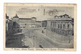 1139 - TORINO PIAZZA CASTELLO PALAZZO REALE E PALAZZO MADAMA ANIMATA 1948 - Places