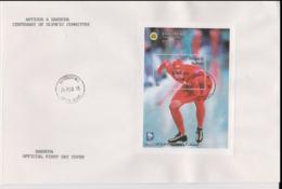Barbuda Mail Overprint Antigua & Barbuda FDC 1994 Olympic Games Lillehammer Souvenir Sheet   (L61-8) - Winter 1994: Lillehammer