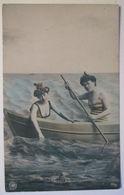 Meer, Frau, Mode, Bademode Boot, 1907  - Ansichtskarten
