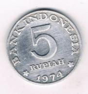 5 RUPIAH 1974 INDONESIE /8132/ - Indonesia