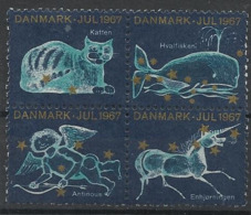 Vignettes De Noêl Danemark De 1967 - Chat Licorne Baleine Erinnophilie - Cinderellas