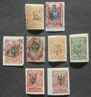Ukraine 1918 Group Of Stamps W/ Kharkov-1 Trident Overprint, MH/used - Ukraine
