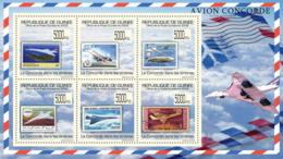 Guinea 2009 MNH - Concorde On Stamps, Stamps Of Barbados, Lesotho, Liberia, Mauritania. YT 4534-4539, Mi 7016-7021 - Guinea (1958-...)