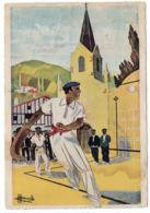 Illustrateur  Homualk -- Pays  Basque  -- Joueur De Pelote Avec Chistera ... à Saisir - Homualk