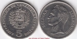 VENEZUELA 5 BOLIVARES 1977 KM#43 - Used - Venezuela
