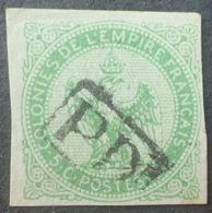 """DF40266/744 - 1859 - COLONIES GENERALES - AIGLE IMPERIAL - N°2 (pelurage) - Oblitération """" PD """" Dans Un Rectangle - Águila Imperial"""