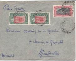 DJIBOUTI 22.12.1938, 3 Timbres-poste Sur Lettre Par Avion Pour FRANCE  Pour Comtesse Dutheil De La Rochère Montpellier - Lettres & Documents