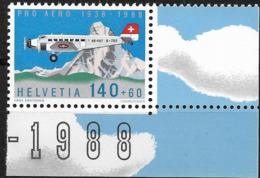 1988 Schweiz Mi. 1369 **MNH  50 Jahre Stiftung Pro Aero:  Flugzeug Junkers JU-52, Matterhorn - Neufs