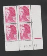 FRANCE / 1987 / Y&T N° 2486 ** : Liberté 3F70 Rose (2 Bandes PHO) X 4 - Coin Daté 1987 10 16 (RE) - 1980-1989