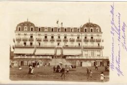 62 WIMEREUX 2 CARTE PHOTO DU GRAND HOTEL ANIMEE CACHET CONVOYEUR DE BOULOGNE A ETAPLES - France