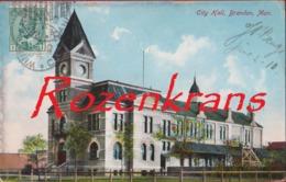 Canada Manitoba Brandon City Hall Rare Old Postcard 1910 - Brandon