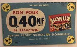 Bonux, Bon De Réduction  0,40 Nouveau Franc. - Publicités