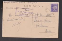 Marcophilie Cachet Oblitération Camp De La Police Nationale St SULPICE Verso CP Toulouse - Guerres