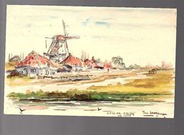 Haagse School-stijl1936 Hand-painted Aquarel 'Ton Leverburg'? Ulvenhout? (FK-61) - 1891-1948 (Wilhelmine)