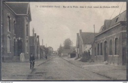 Carte Postale 59. Carnières Rue De La Poste , Dans Le Fond Ruines Du Chateau Salez  Trés Beau Plan - France