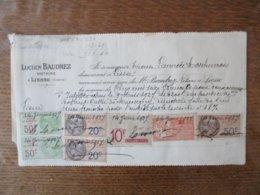 TIMBRES IMPÔT DE 5% SUR LES REVENUS 3F,IMPOT SUR LE REVENU 50F(2),EFFETS DE COMMERCE 10F,FISCAUX 20 ET 50c SUR RECU 1927 - Revenue Stamps