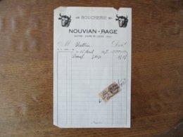 NOTRE-DAME-DE-LIESSE AISNE NOUVIAN-PAGE BOUCHERIE FACTURE DU 26 AVRIL 1927 - Frankreich