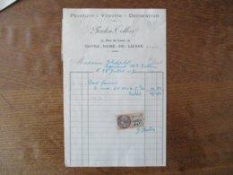 NOTRE-DAME-DE-LIESSE AISNE FOULON-TELLIER PEINTURE VITRERIE DECORATION FACTURE DU 28 JUILLET 1927 - Frankreich