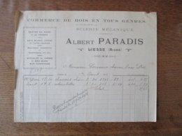 LIESSE AISNE ALBERT PARADIS COMMERCE DE BOIS EN TOUS GENRES SCIERIE MECANIQUE FACTURE DU 1er AOUT 1924 - Frankreich