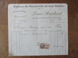 N.D. DE LIESSE AISNE LOUIS BOUDINOT TRAVAUX DE MENUISERIE 4 FAUBOURG DE REIMS FACTURE DU 8 OCTOBRE 1926 - Frankreich
