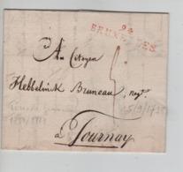 PR7522/ Précurseur LAC/BMI Daté De Bruxelles 1798 Griffe Bruxelles 94 Port 5 > Tournai Période Française - 1794-1814 (French Period)
