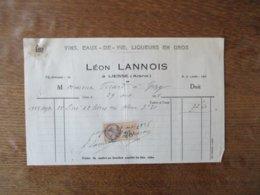 LIESSE AISNE LEON LANNOIS VINS, EAUX DE VIE, LIQUEURS EN GROS  FACTURE DU 29 OCTOBRE 1928 - Frankreich