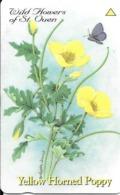 CARTE-MAGNETIQUE-JERSEY-2£-PAVOT A CORNES JAUNES--TBE - Fleurs
