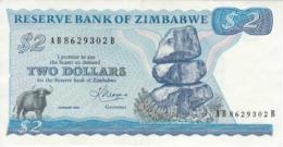 BILLETE DE ZIMBAWE DE 2 DOLLARS DEL AÑO 1983 (BANKNOTE-BANK NOTE) BUFALO - Zimbabwe