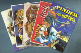 LOT 5 CARTES POSTALES 2014 ANIMAUX AFFICHES CIRQUE PINDER OFFERTES EDITIONS ATLAS SPECTACLE - Cirque