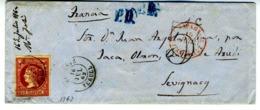 ESPAÑA 1862 CARTA 12 CUARTOS  Ultimo Mes ALCANIZ  SEVIGNAC      LC 2 - 1850-68 Reino: Isabel II