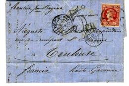 ESPAÑA 1860 CARTA 12 CUARTOS   ABR 60 SEVILLA  TOULOUSE      LC 3 - 1850-68 Reino: Isabel II