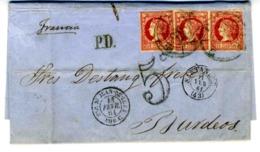 ESPAÑA 1861 CARTA  3X12 CUARTOS FEB 61 SANTANDER BORDEAUX   LC 4 - Briefe U. Dokumente
