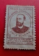 1904 VIGNETTE MAISON E.D  TAYMANS EMILE BEHRING LES GRANDS CONTEMPORAINS TEXTE A ATTESTATION SERVICE PTT  Erinnophilie - Commemorative Labels