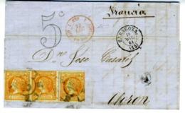 ESPAÑA 1861 CARTA  3X4 CUARTOS DIC 61 ZARAGOZA  OLORON   LC 5 - 1850-68 Reino: Isabel II