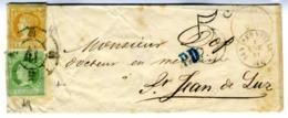 ESPAÑA 1861 CARTA  2 Y 4  CUARTOS ENE 61 TARIFA FRONTERIZA    LC 6 - 1850-68 Reino: Isabel II