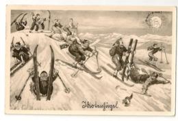 """38 - Descente à Skis """" Humour"""" - Sports D'hiver"""