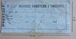 BRASSERIE HANOTEAU  SOMBREFFE  Reçu De 1885 - Documents Historiques