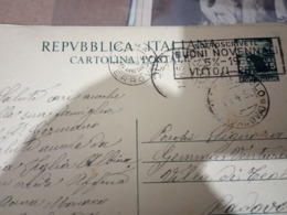 INTERO POSTALE ITALIA VIAGGIATO L.15 TARGHETTA  BUONI  NOVENNALI ANCHE RETRO  ROMA 1950   HF1200 - 1946-.. Republiek