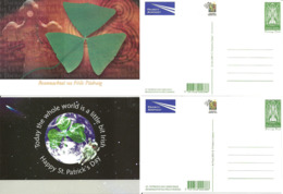 Ireland  2001 Cards For St. Patrick's Day Greetings, With Imprinted Stamp St. Patrick, 4 Cards - 1949-... Republic Of Ireland