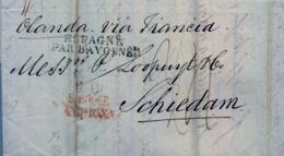 """1826 , GIBRALTAR - SCHIEDAM , RARA MARCA PREF. """" GIB. / S. ROQUE / ANDª BAXA """" , """" ESPAGNE PAR BAYONNE """" , - ...-1850 Prephilately"""