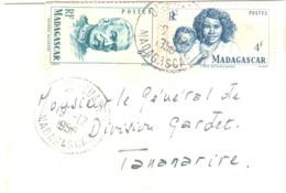 DIEGO SUAREZ Madagascar Carte De Visite Mignonette Yv 312 314 6 F Duchesne 4 F Betsimisaraka Dest Tananarive Ob 1956 - Madagascar (1889-1960)