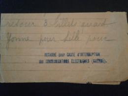 FRANCE DOCUMENT TELEGRAMME GRIFFE RETARDE INTERRUPTION COMMUNICATION ELECTRIQUE GUERRE LETTER ENVELOPPE LETTRE COVER - Marcofilia (sobres)