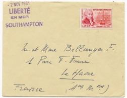 """Enveloppe 1961 - Compagnie Générale Transatlantique French Line Paquebot """"Liberté"""" En Mer Southampton - Le Havre - Postmark Collection (Covers)"""