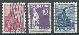 Danemark YT N°265/267 Bertel Thorvaldsen Oblitéré ° - 1913-47 (Christian X)