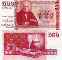 """ICELAND 500 KRONUR 2001 P59, UNC """" Jon Sigurosson"""" - Iceland"""